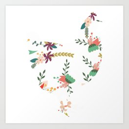 Chick Lover? Here's a cute t-shirt design with a cute floral silhouette of Hen Chicken Rooster Art Print