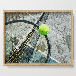 Modern tennis ball and racket 7 Serving Tray