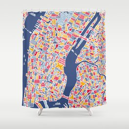 New York City Map Poster Shower Curtain