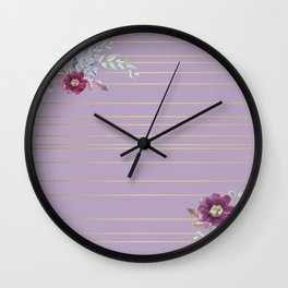 Pastel Watercolor Floral with Metallic Stripes Wall Clock