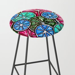 Citruses, Oranges, Lemons, Limes. Watercolor pattern Bar Stool