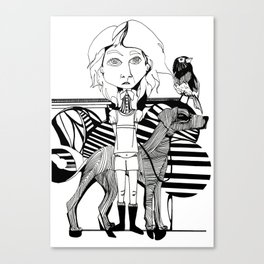 the girl, her dog and a bird Canvas Print
