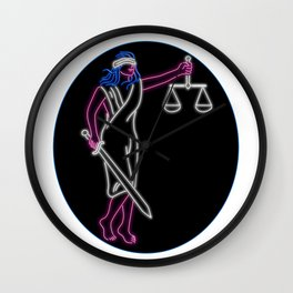 Lady Justice Holding Sword and Balance Oval Neon Sign Wall Clock