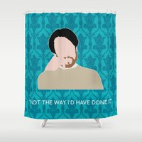 wes anderson Shower Curtains featuring The Empty Hearse - Philip Anderson by MacGuffin Designs