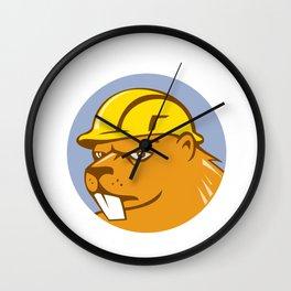 Beaver Construction Worker Circle Cartoon  Wall Clock