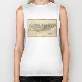 Vintage Map of Tennessee (1822) Biker Tank
