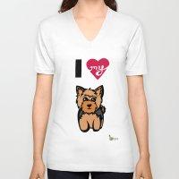 yorkie V-neck T-shirts featuring I Love My Yorkie by Gellygen Creative