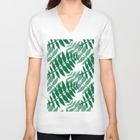 green pattern V-neck T-shirts featuring Green by JuniqueStudio