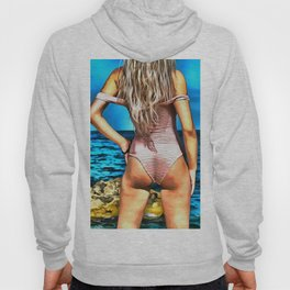 Off the Shoulder Bodysuit Blonde Hoody