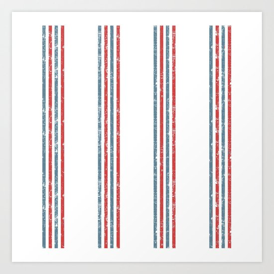 Maritime Beach Pattern- Red and Blue Stripes on White- Vertical #Society6 Art Print