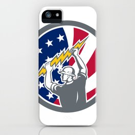 American Electrician USA Flag Icon iPhone Case