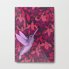 Hummingbird and fuchsia Metal Print