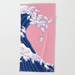 Llama Waves in Pink Beach Towel