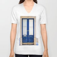 portugal V-neck T-shirts featuring Door Ericeira Portugal blue by Sébastien BOUVIER