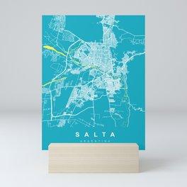 SALTA City Map | Argentina | Aqua | More Colors, Review My Collections Mini Art Print