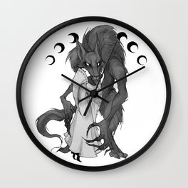 Inktober Werewolf Wall Clock