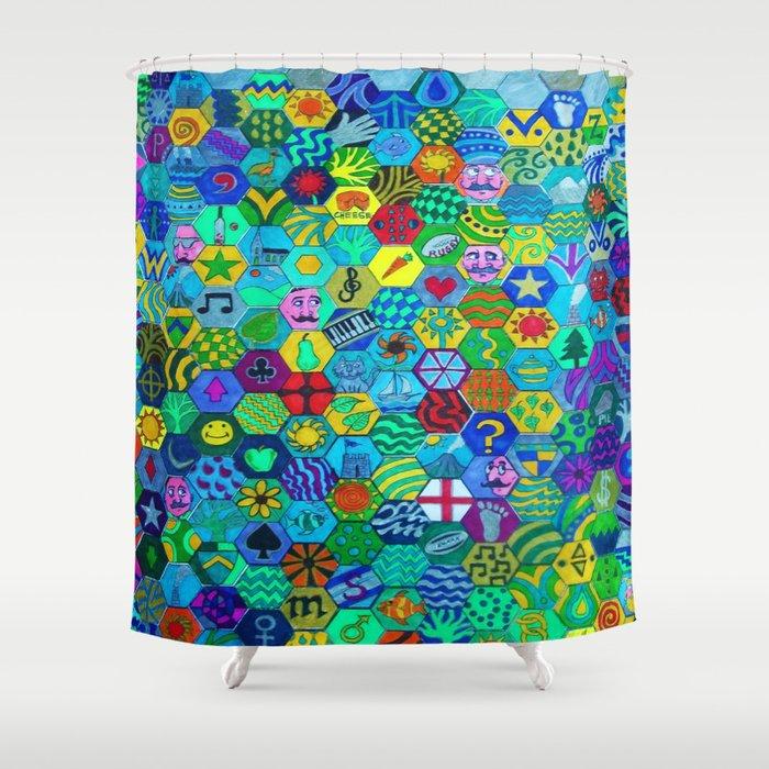 Hexagon Doodle Shower Curtain