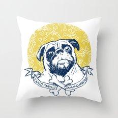 Pug : Small dog, big attitude. Throw Pillow