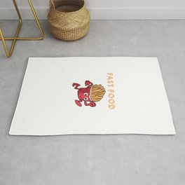 Cute & Funny Fast Food Running French Fries Punny Rug