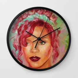 Red Rihanna Wall Clock