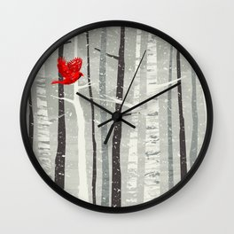 Red Cardinal in the Woods Wall Clock