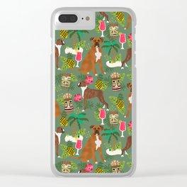 Boxer tiki tropical dog pattern modern pet friendly pet pattern dog breeds Clear iPhone Case