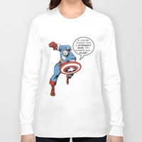 steve rogers Long Sleeve T-shirts featuring Steve Rogers - The Straight Man by tangofox