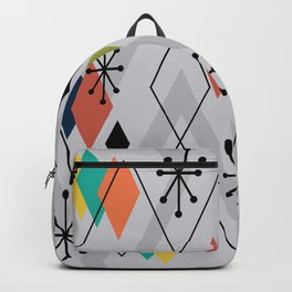 Mid Century Modern Scattered Diamonds Gray Multicolored Backpack