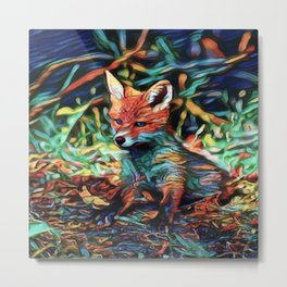 I Dreamt A Baby Red Fox   Painting Metal Print