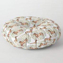Dachshund Sausage Dog Print Botanical Floor Pillow