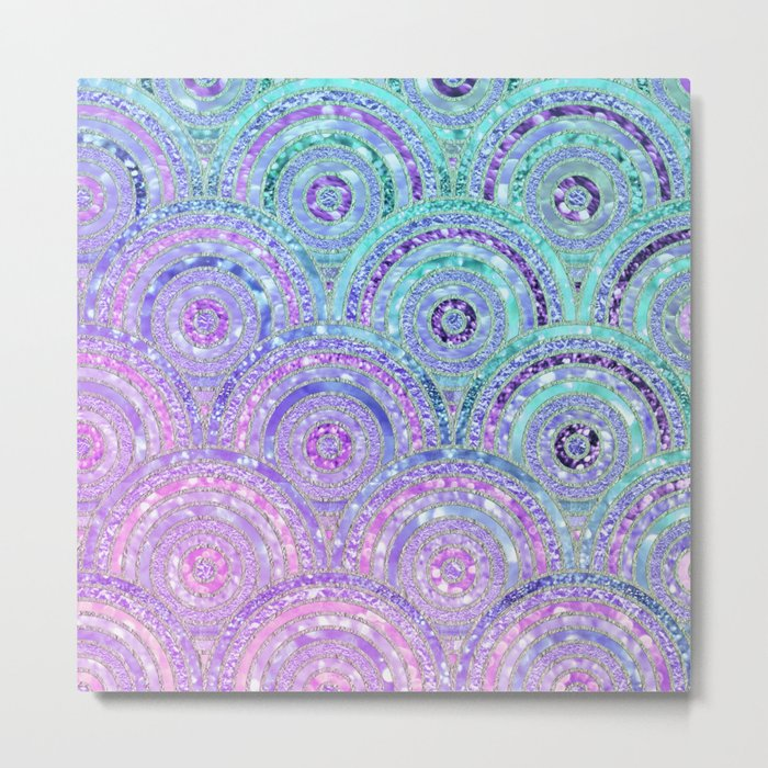 Aqua Blue Purple and Pink Sparkling Glitter Circles Metal Print
