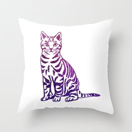 Purple Pussycat Throw Pillow