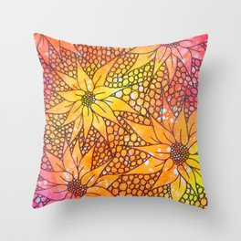 Black flowers on neon painting Throw Pillow
