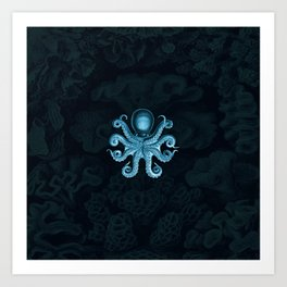 Octopus2 (Blue, Square) Art Print