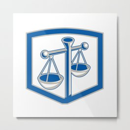 Scales of Justice Shield Retro Metal Print