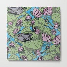 frog and nenuphars Metal Print