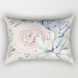 Pretty Pink Succulents Garden Rectangular Pillow