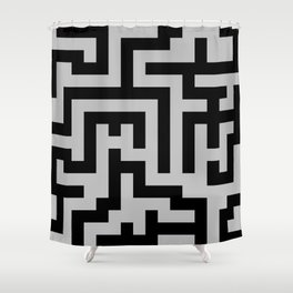 Black and Gray Labyrinth Shower Curtain