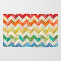 quilt Area & Throw Rugs featuring Chevron Rainbow Quilt by Rachel Caldwell