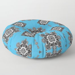 Blue Mosaic Fractal Tiles Floor Pillow