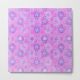Lotus flower - rich rose woodblock print style pattern Metal Print