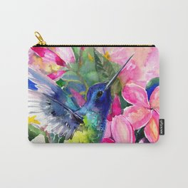 Hummingbird and Plumeria Florwers Tropical bright colored foliage floral Hawaiian Flowers Carry-All Pouch