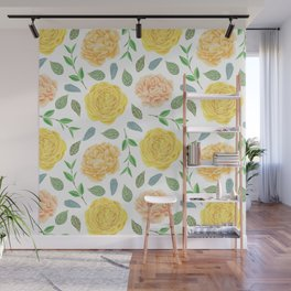 Hand painted yellow coral watercolor modern floral Wall Mural