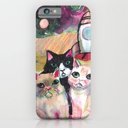 cats going into space to escape humans iPhone Case