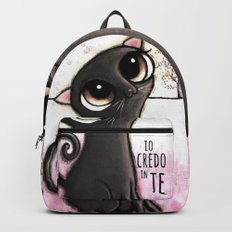 Black cat with big eyes Backpack