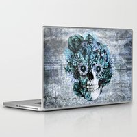 ohm Laptop & iPad Skins featuring Blue grunge ohm skull by Kristy Patterson Design