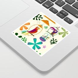 Vintage Modern Tiki Birds Sticker