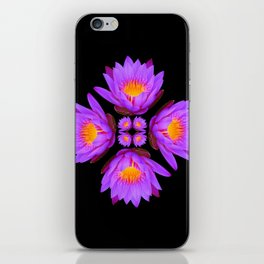 Purple Lily Flower - On Black iPhone Skin