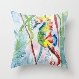 Colorful Seahorse Throw Pillow