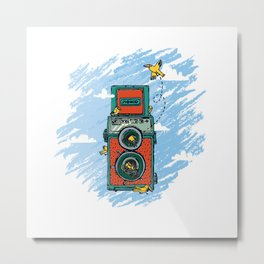 Camera lomo with bird Metal Print
